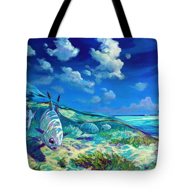 A Place I'd Rather Be - Caribbean Permit Fly Fishing Painting Tote Bag by Savlen Art