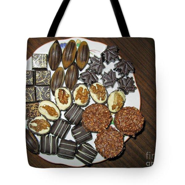 A Plate Of Chocolate Sweets Tote Bag by Ausra Huntington nee Paulauskaite