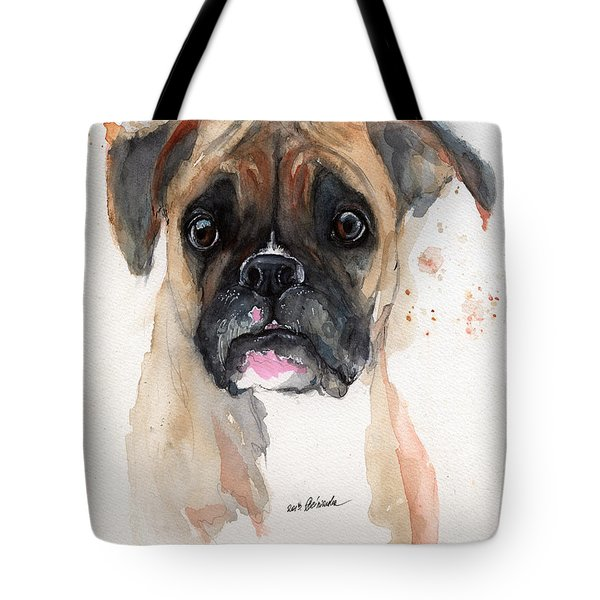A Portrait Of A Boxer Dog Tote Bag by Angel  Tarantella