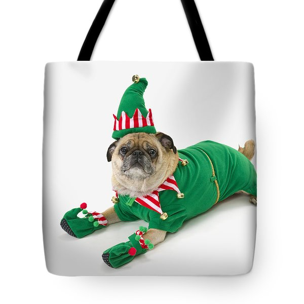 A Pug In A Christmas Elf Costumest Tote Bag by Corey Hochachka