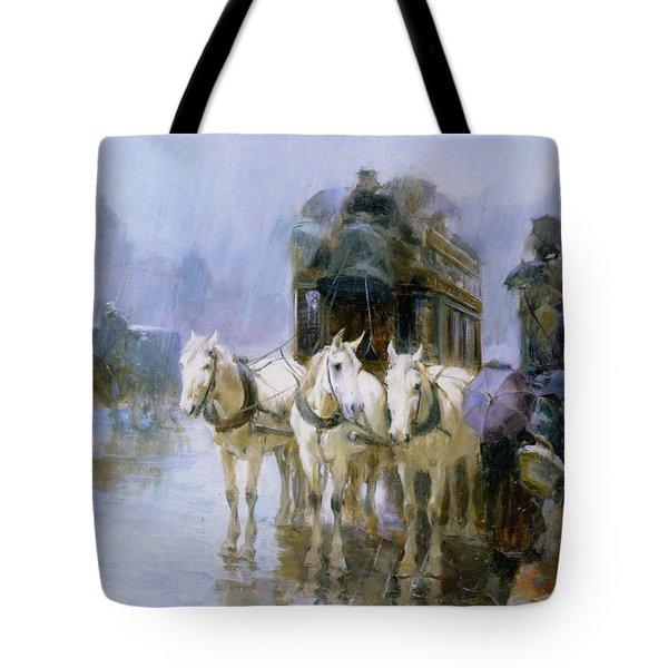 A Rainy Day In Paris Tote Bag by Ulpiano Checa y Sanz