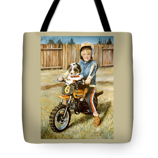 A Ride In The Backyard Tote Bag by Donna Tucker