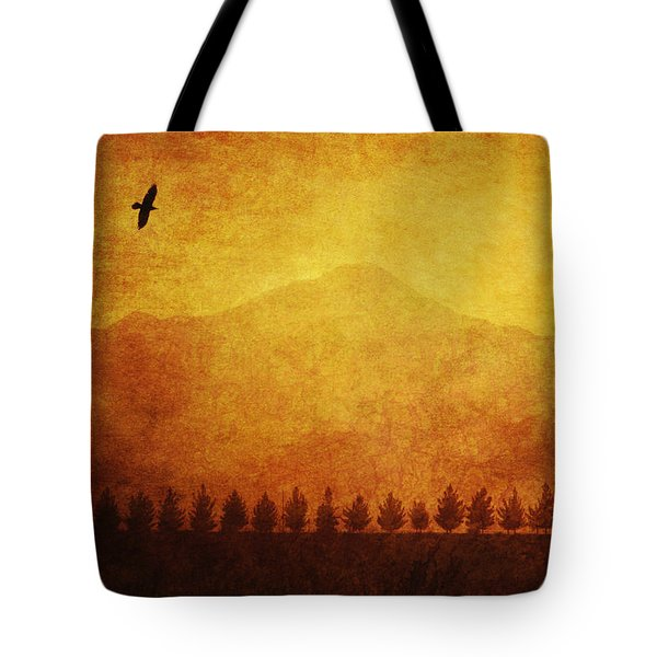 A Row Of Trees And A Raven Silhouetted Tote Bag by Roberta Murray