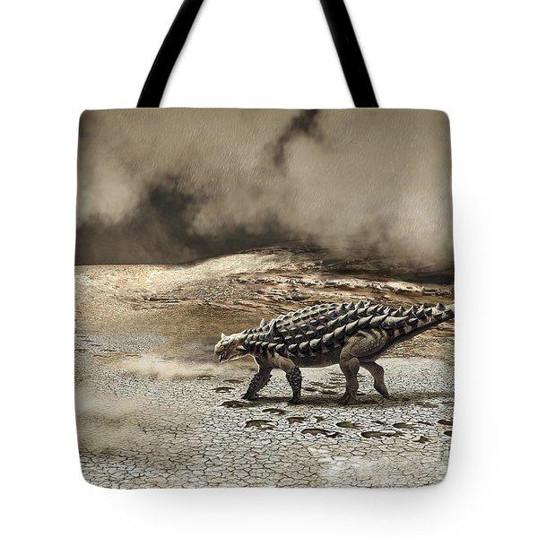 A Saichania Chulsanensis Dinosaur Tote Bag by Roman Garcia Mora