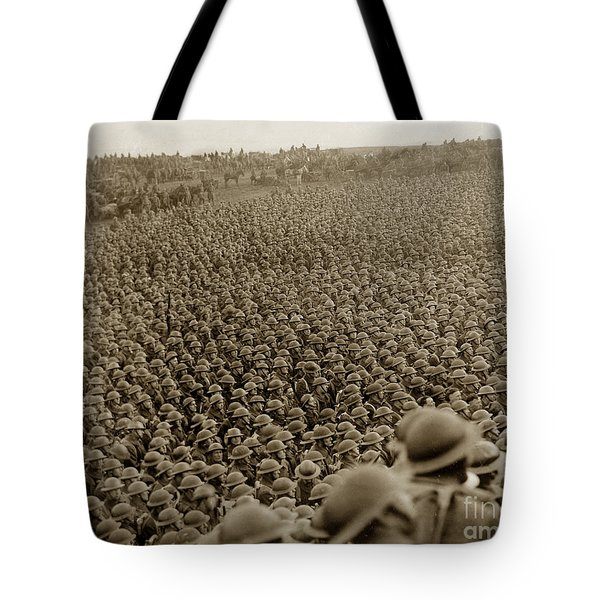 A Sea Of Helmets World War One 1918 Tote Bag by California Views Mr Pat Hathaway Archives