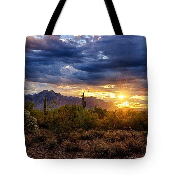 A Sonoran Desert Sunrise Tote Bag by Saija  Lehtonen