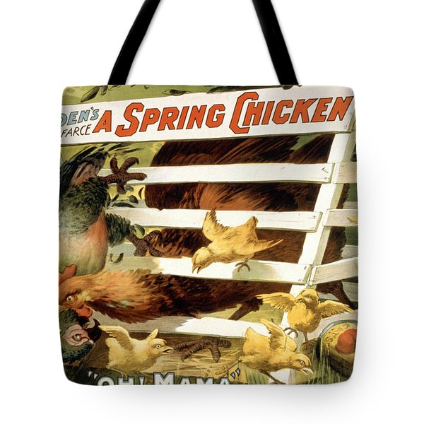 A spring chicken Tote Bag by Aged Pixel