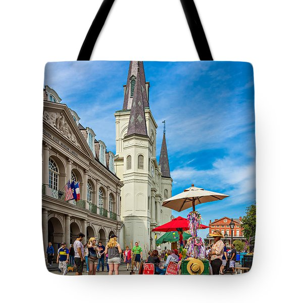 A Sunny Afternoon in Jackson Square Tote Bag by Steve Harrington