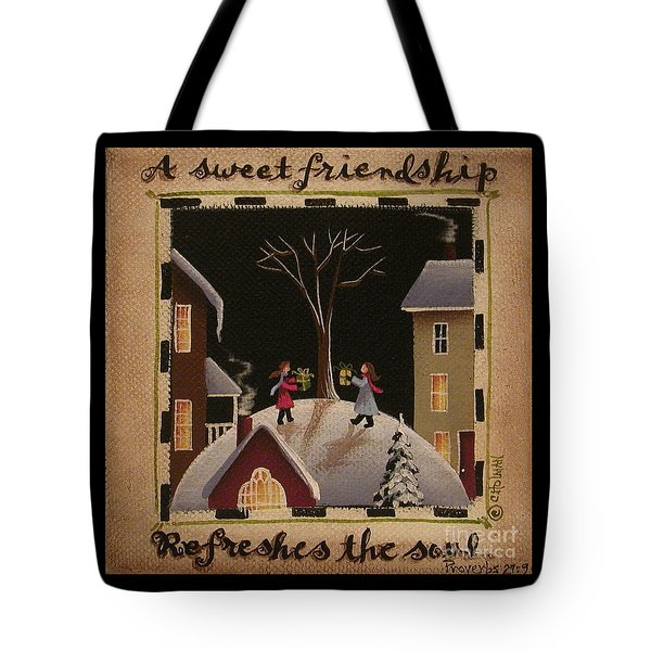A Sweet Friendship  Winter Tote Bag by Catherine Holman