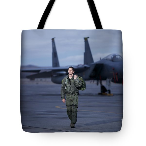 A U.s. Air Force Pilot Walking Away Tote Bag by Terry Moore