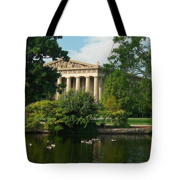 A View Of The Parthenon 17 Tote Bag by Douglas Barnett