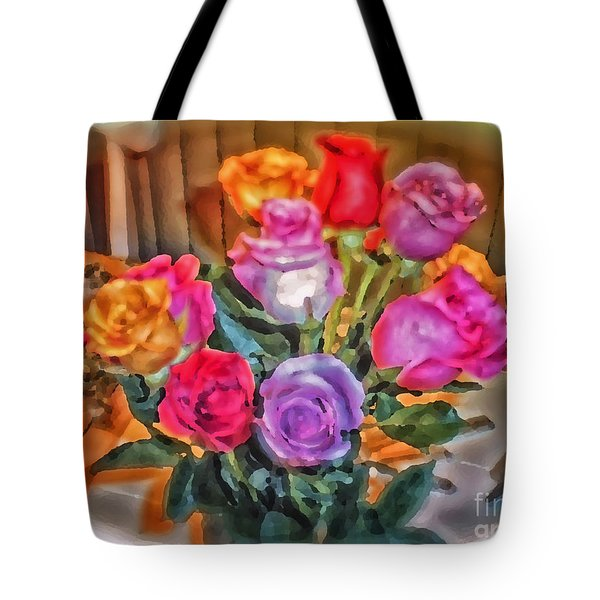 A Vivid Rose Bouquet For You Tote Bag by Thomas Woolworth