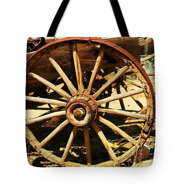 A Wagon Wheel Tote Bag by Jeff Swan