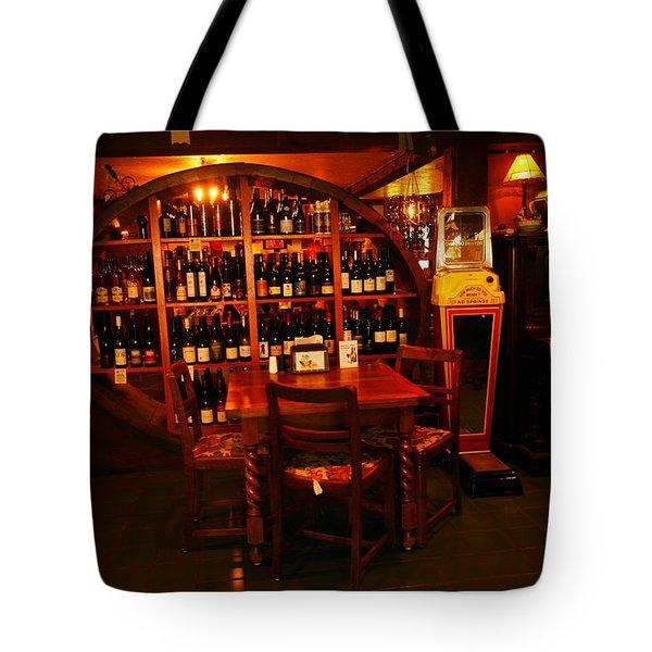 A Wine Rack Tote Bag by Jeff Swan