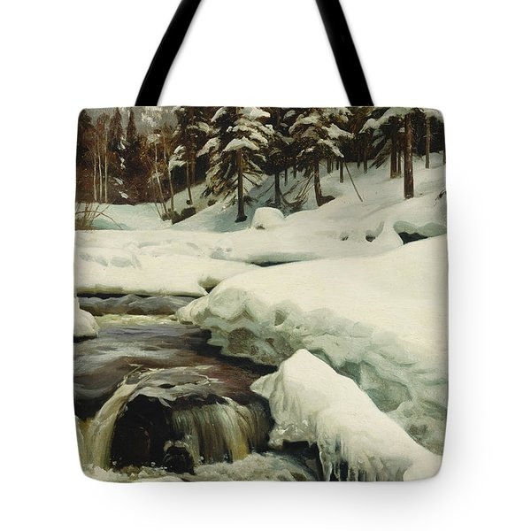 A Winter Landscape With A Mountain Torrent Tote Bag by Peder Monsted