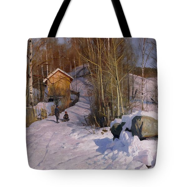 A Winter Landscape With Children Sledging Tote Bag by Peder Monsted