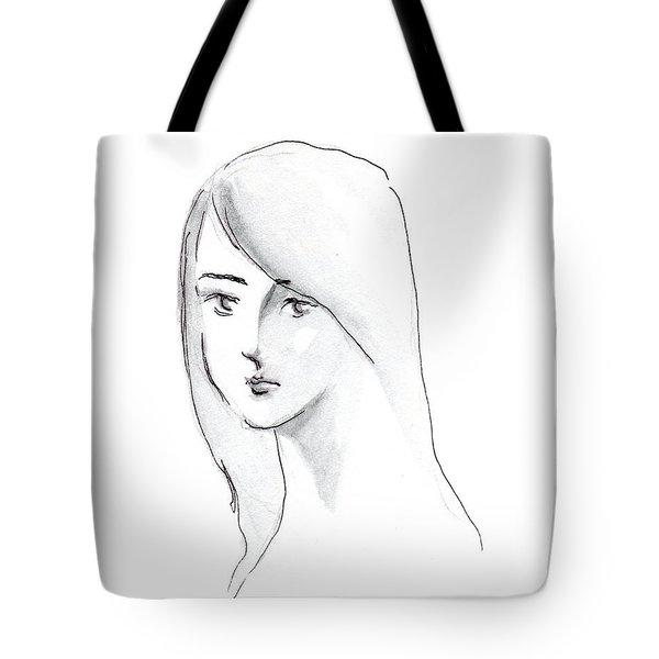 A Woman With Long Hair Tote Bag by Jingfen Hwu