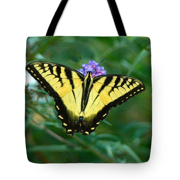 A Yellow Butterfly Tote Bag by Raymond Salani III