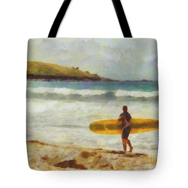 About to surf Tote Bag by Pixel Chimp