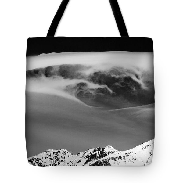Above The Peaks Tote Bag by Dave Bowman