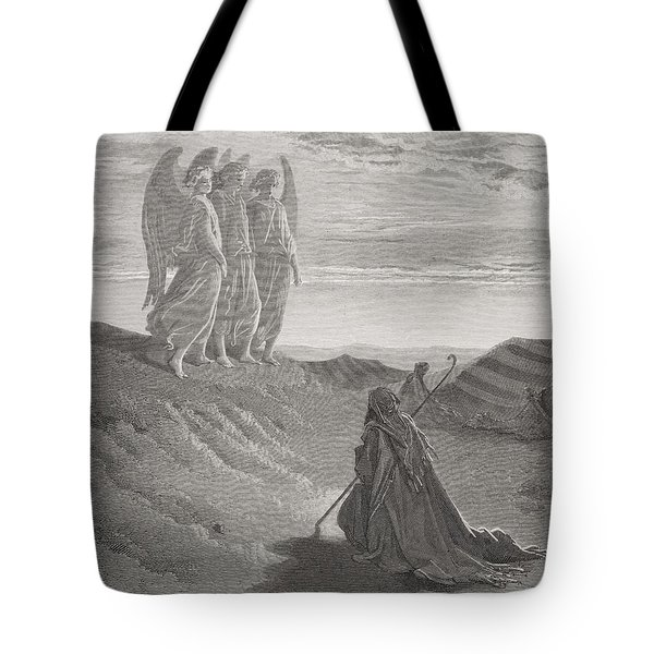Abraham And The Three Angels Tote Bag by Gustave Dore
