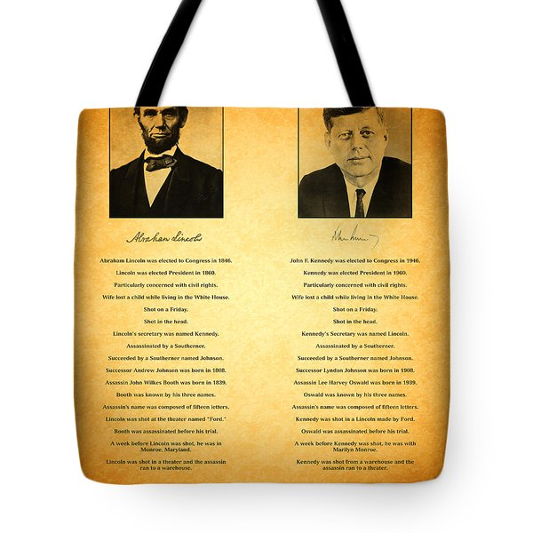 Abraham Lincoln and John F Kennedy Presidential Similarities and Coincidences Conspiracy Theory Fun Tote Bag by Design Turnpike