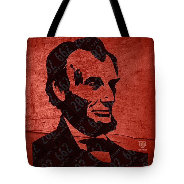 Abraham Lincoln License Plate Art Tote Bag by Design Turnpike
