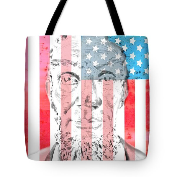 Abraham Lincoln Vintage American Flag Tote Bag by Dan Sproul