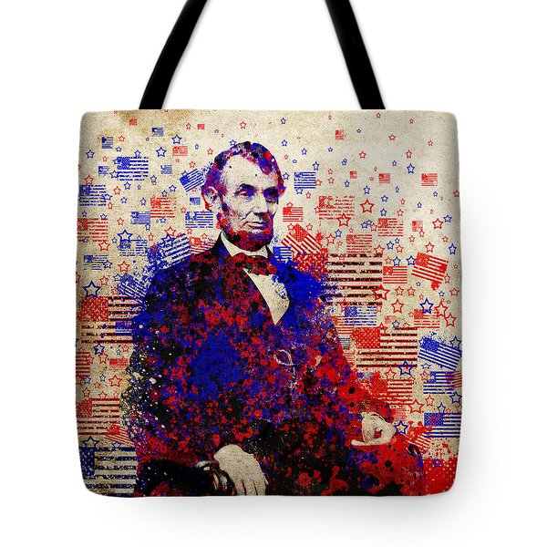 abraham lincoln with flags Tote Bag by MB Art factory