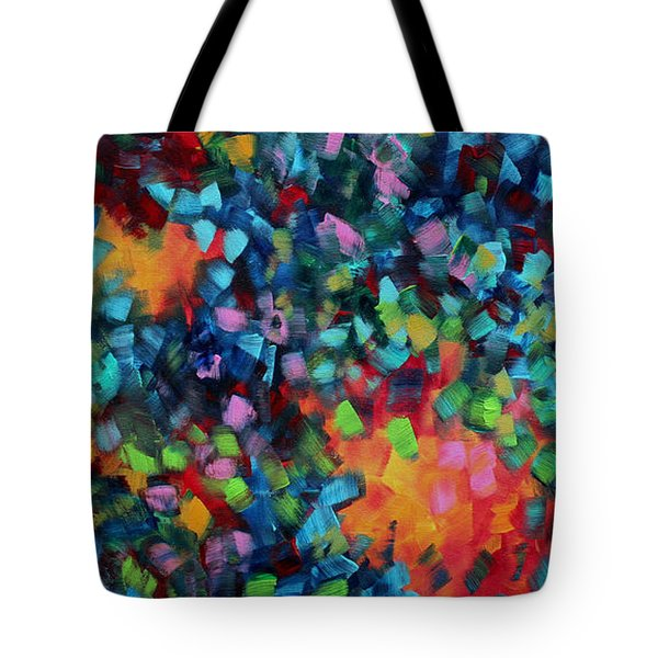 Abstract Art Bold Colorful Modern Art Original Painting Color Blast By Madart Tote Bag by Megan Duncanson