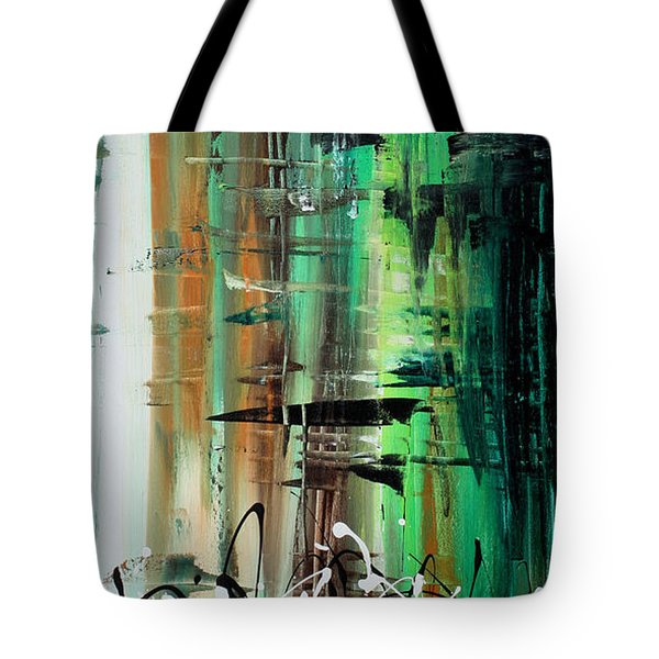 Abstract Art Colorful Original Painting Green Valley By Madart Tote Bag by Megan Duncanson
