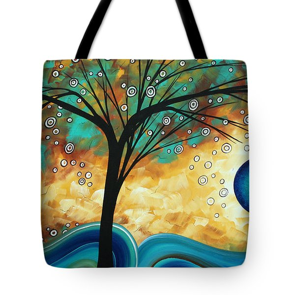 Abstract Art Contemporary Painting Summer Blooms By Madart Tote Bag by Megan Duncanson