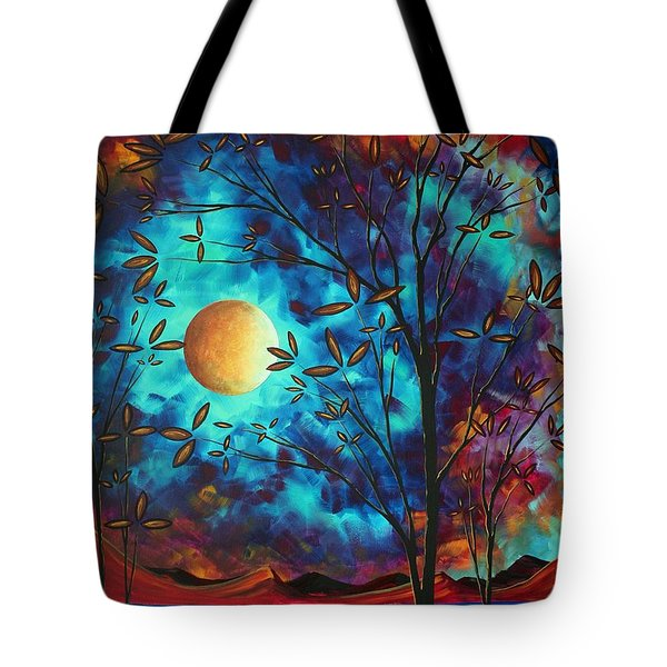 Abstract Art Landscape Tree Blossoms Sea Moon Painting VISIONARY DELIGHT by MADART Tote Bag by Megan Duncanson
