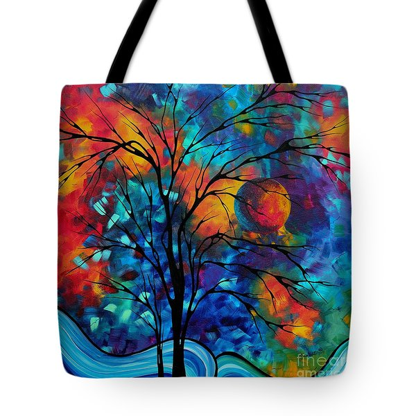Abstract Art Landscape Tree Bold Colorful Painting A Secret Place By Madart Tote Bag by Megan Duncanson