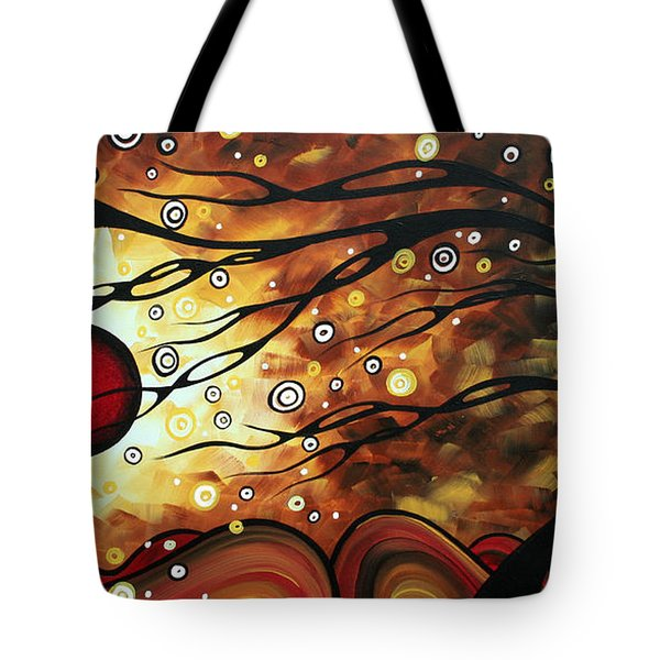 Abstract Art Original Circle Painting Flaming Desire By Madart Tote Bag by Megan Duncanson