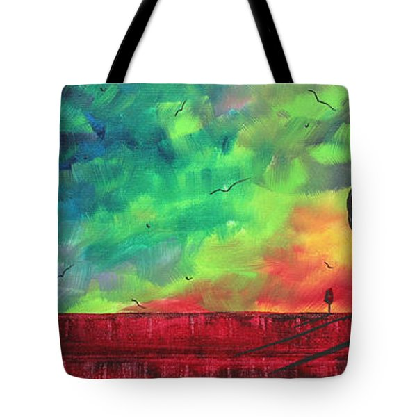 Abstract Art Original Colorful Landscape Painting Burning Skies By Madart  Tote Bag by Megan Duncanson
