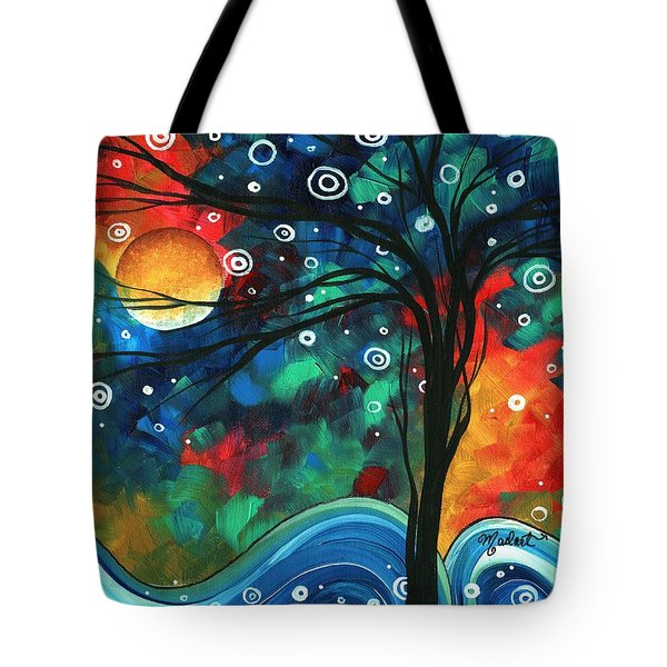 Abstract Art Original Landscape Colorful Painting First Snow Fall By Madart Tote Bag by Megan Duncanson