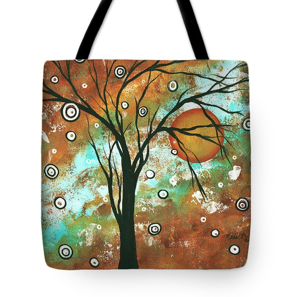 Abstract Art Original Landscape Painting Bold Circle Of Life Design Autumns Eve By Madart Tote Bag by Megan Duncanson