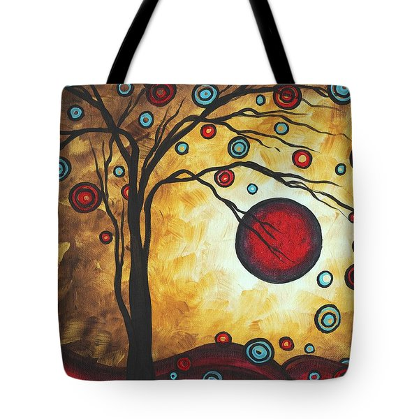 Abstract Art Original Metallic Gold Landscape Painting FREEDOM OF JOY by MADART Tote Bag by Megan Duncanson