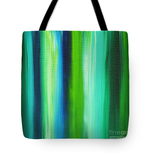 Abstract Art Original Textured Soothing Painting SEA OF WHIMSY STRIPES I by MADART Tote Bag by Megan Duncanson