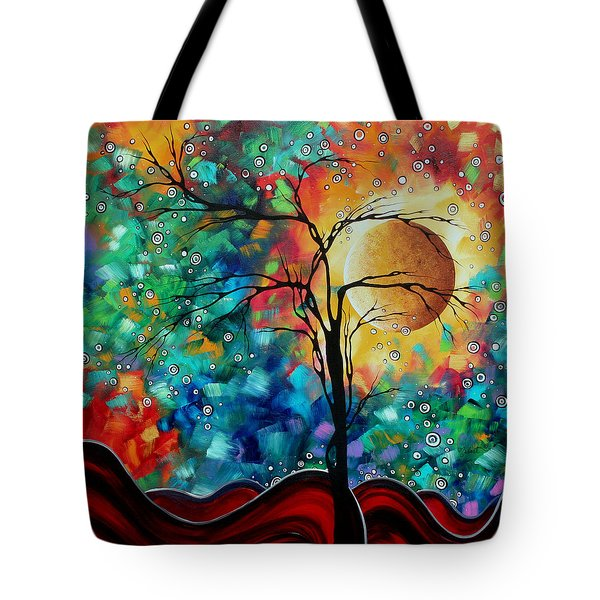 Abstract Art Original Whimsical Modern Landscape Painting BURSTING FORTH by MADART Tote Bag by Megan Duncanson