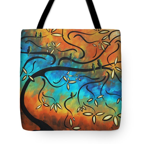 Abstract Bird Painting Original Art Madart Tree House Tote Bag by Megan Duncanson