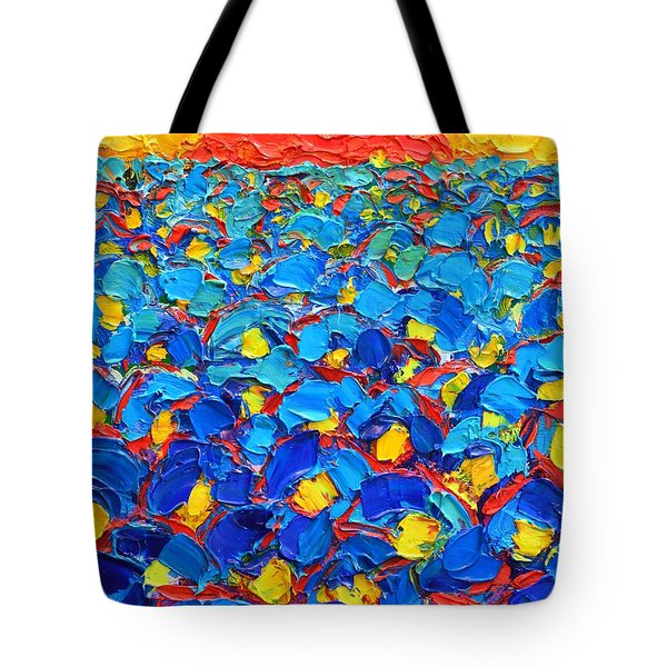 Abstract Blue Poppies In Sunrise -original Oil Painting Tote Bag by Ana Maria Edulescu