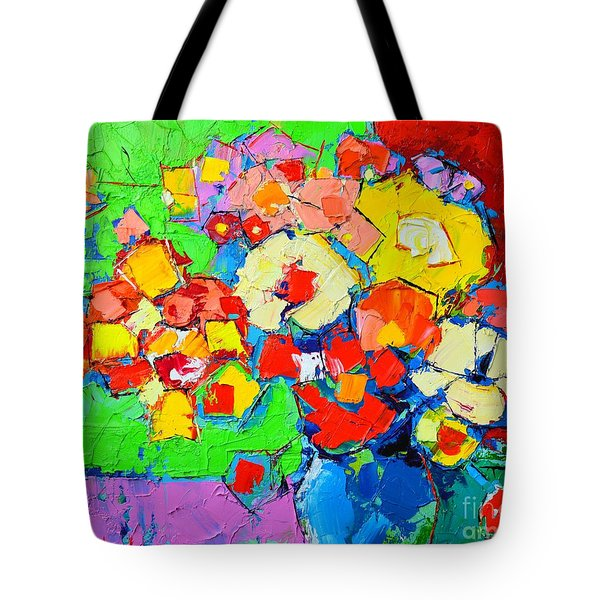 Abstract Colorful Flowers Tote Bag by Ana Maria Edulescu