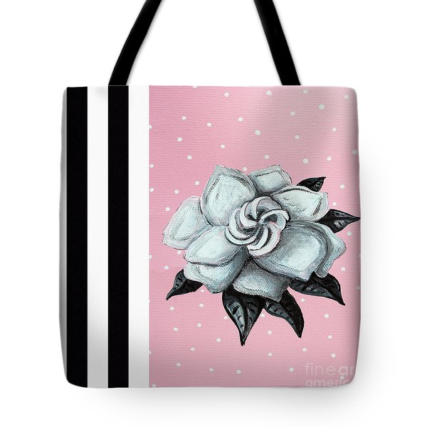 Abstract Contemporary Whimsical Pink Painting Gardenia Flower By Madart Tote Bag by Megan Duncanson
