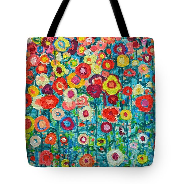 ABSTRACT GARDEN OF HAPPINESS Tote Bag by ANA MARIA EDULESCU