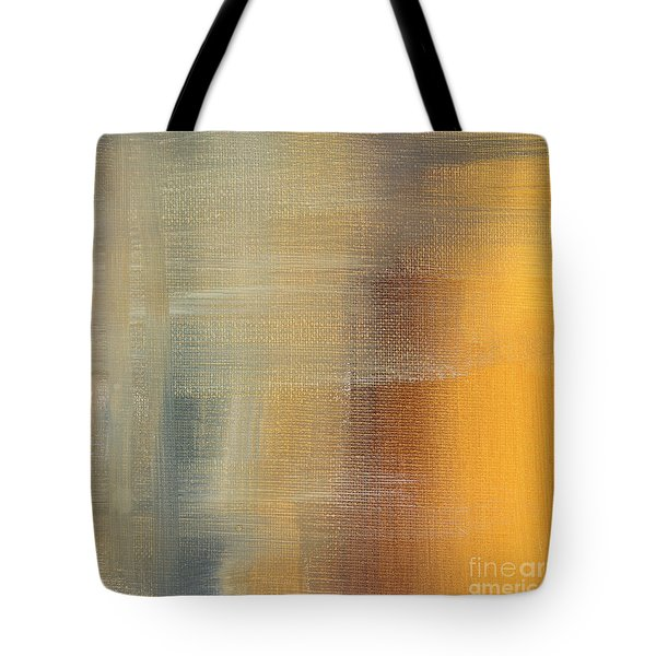 Abstract Golden Yellow Gray Contemporary Trendy Painting Fluid Gold Abstract I By Madart Studios Tote Bag by Megan Duncanson