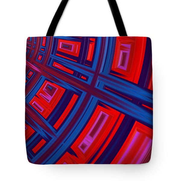 Abstract In Red And Blue Tote Bag by John Edwards