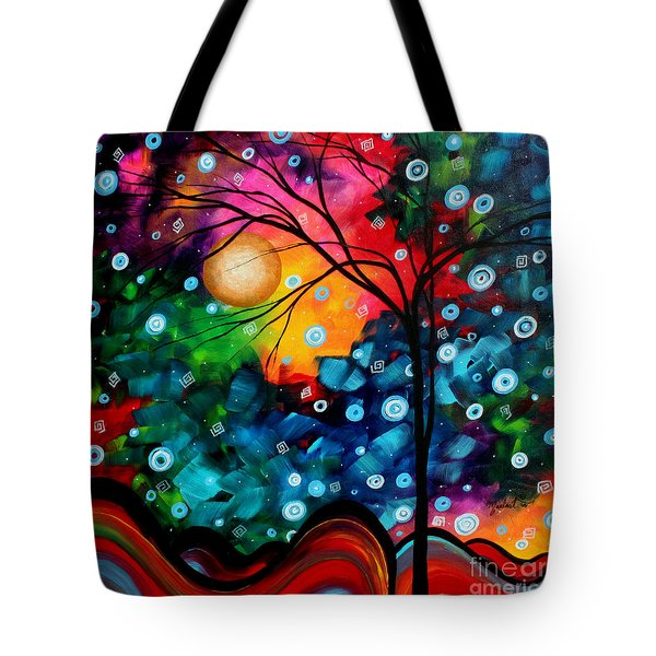 Abstract Landscape Colorful Contemporary Painting by Megan Duncanson Brilliance in the Sky Tote Bag by Megan Duncanson