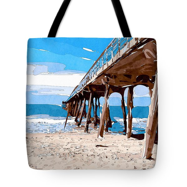 Abstract Ocean Pier Tote Bag by Phil Perkins
